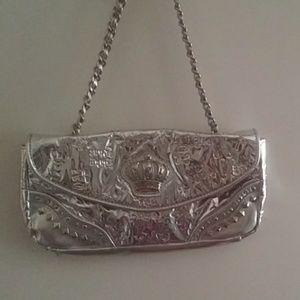 Baby phat silver shoulder bag studded chain strap
